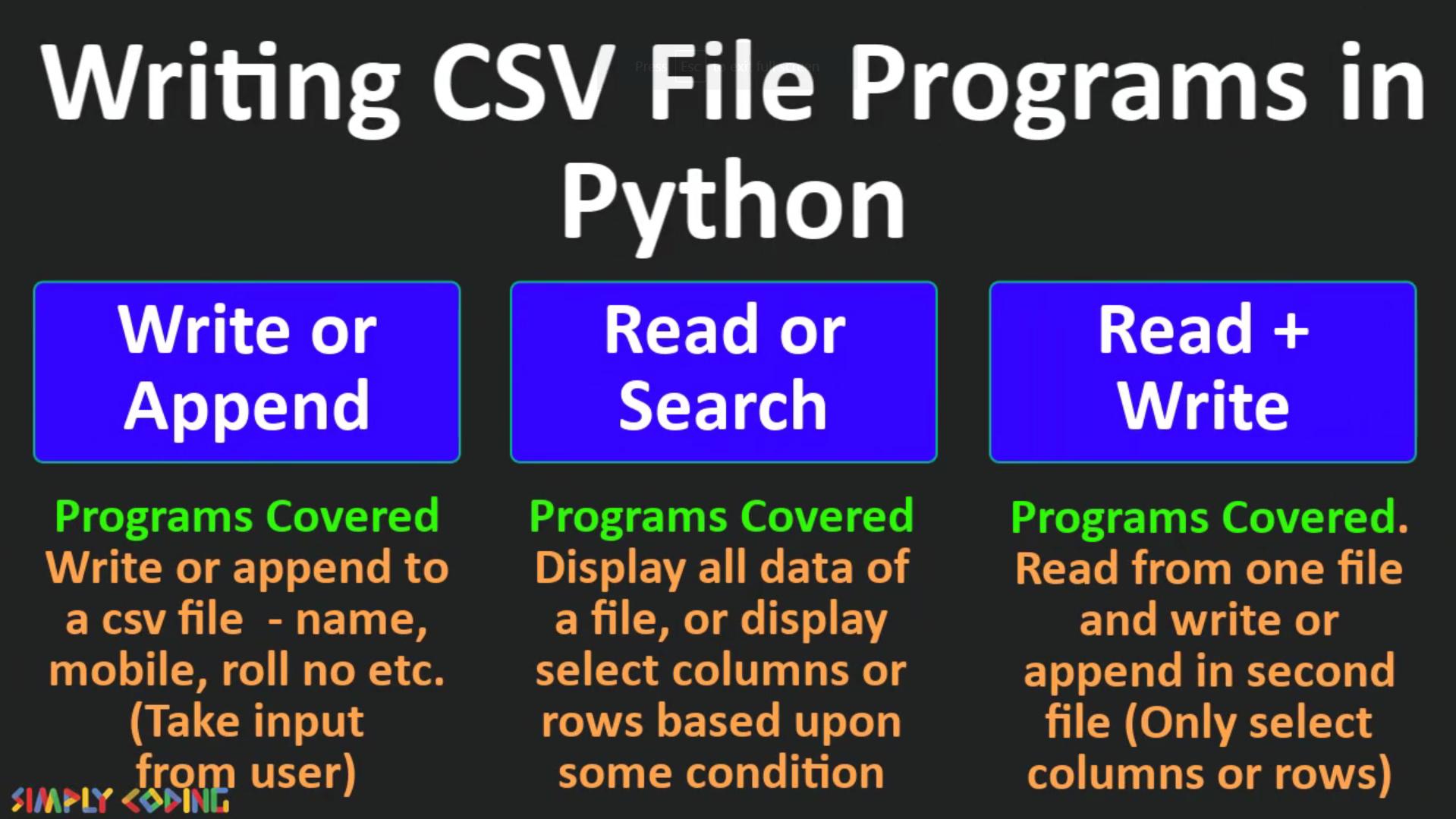 python CSV file programs