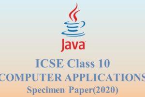 ICSE 10 Specimen